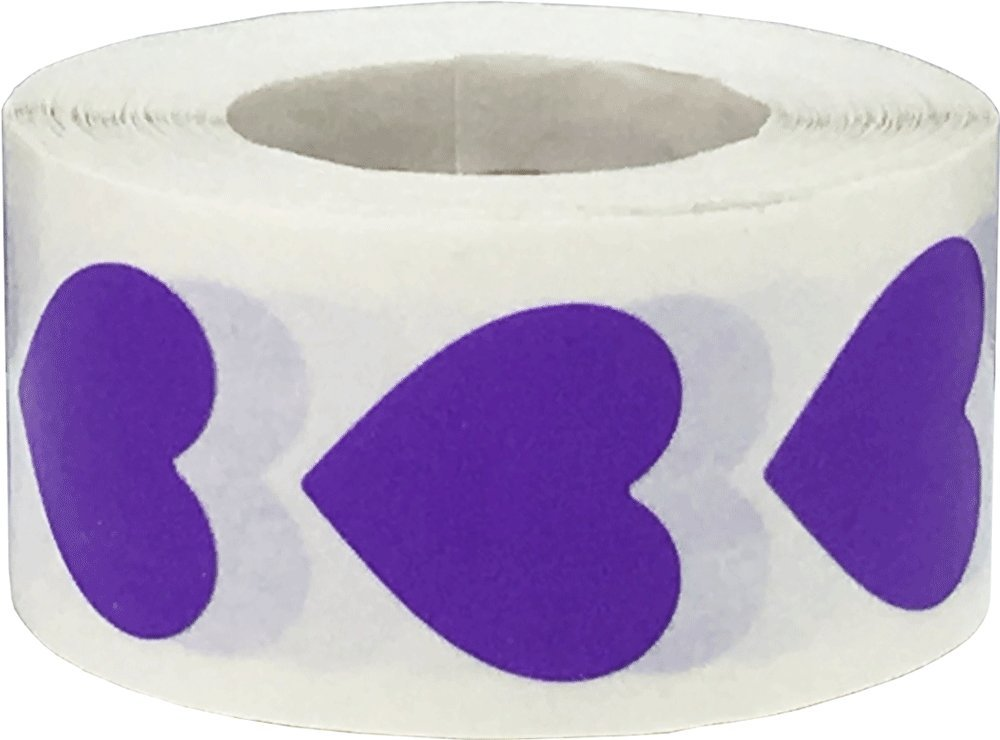Purple Heart Stickers Valentine's Day Crafting Scrapbooking 0.75 Inch 500 Adhesive Stickers