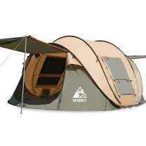 Hewolf Camping Tents Pop-Up 2-4 Person - Instant Family Tent Quick Set Automatic Beach Tent Camp Sun for Dome Tent (NotWaterproof)