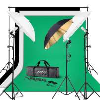 Andoer Photography Umbrella Continuous Light Kit, 6.6ft x 10ft Background Support System, 3pcs Backdrops Screen and 3pcs Umbrellas for Photo, Portrait, Studio Shoot