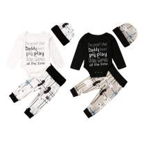 Newborn Infant Baby Boys Cute Long Sleeve Romper Outfits top + Pants + Hat Fall Winter 3Pcs Set Clothes