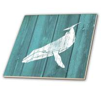 3dRose Humpback Whale Stencil in Faded White Paint Over Teal-not Real Wood-Ceramic Tile, 12-inch (ct_220427_4), Multicolor