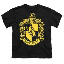 Popfunk Harry Potter Hufflepuff Logo Hogwarts Kids Youth T Shirt & Stickers, X-Large Black