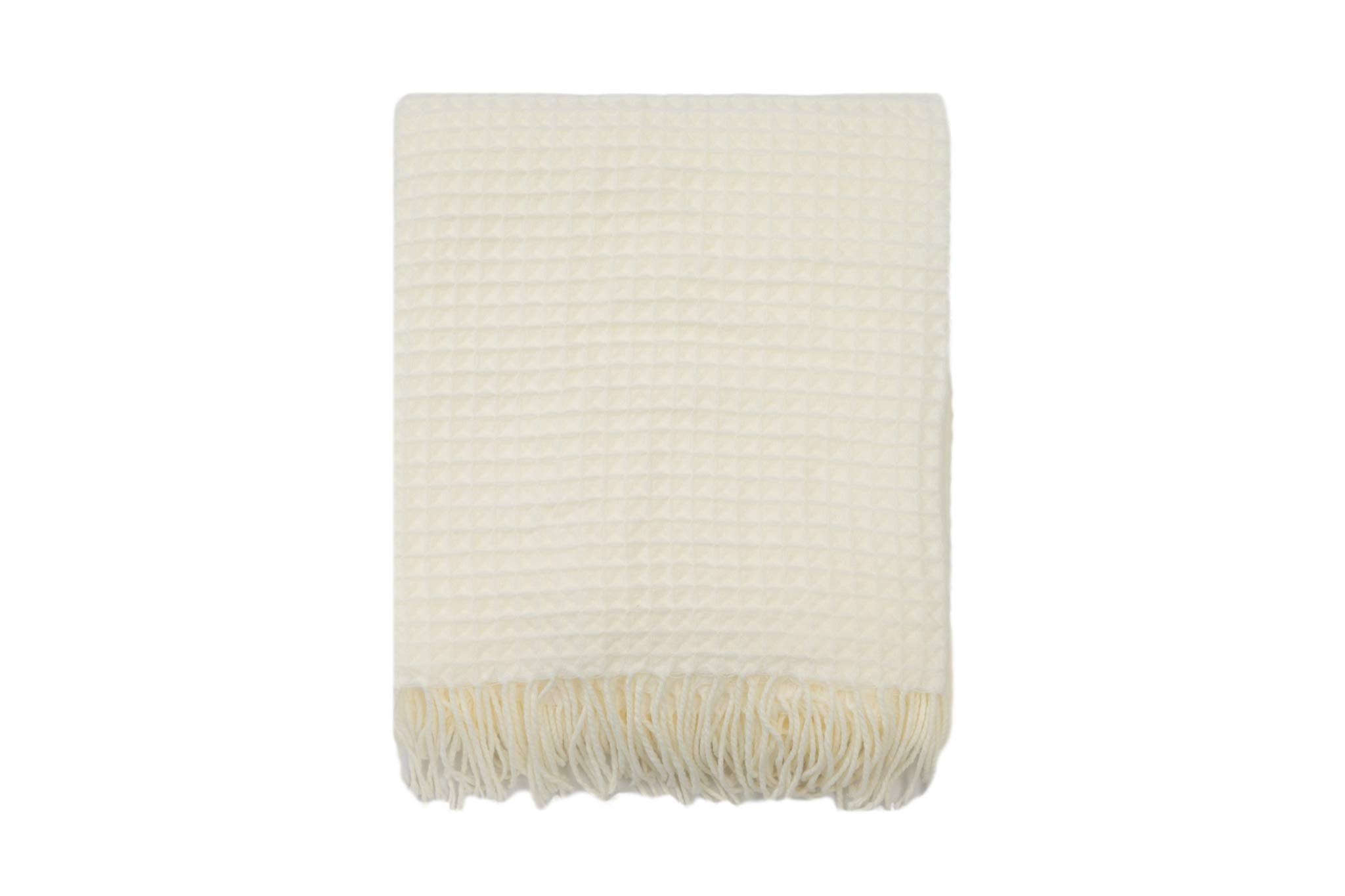 EverGrace Waffle Throw Blanket 60 x 50 Lightweight Soft Cozy Fringe Throw Blanket for Bed Sofa Couch (Waffle-White)
