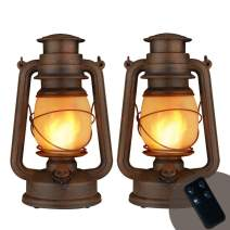 YINUO LIGHT Flame Light Vintage Lantern, Battery Operated Camping Lanternwith Remote Control Two Modes LED Night Lights for Garden Patio Deck Yard Path 2 Pack (Copper)