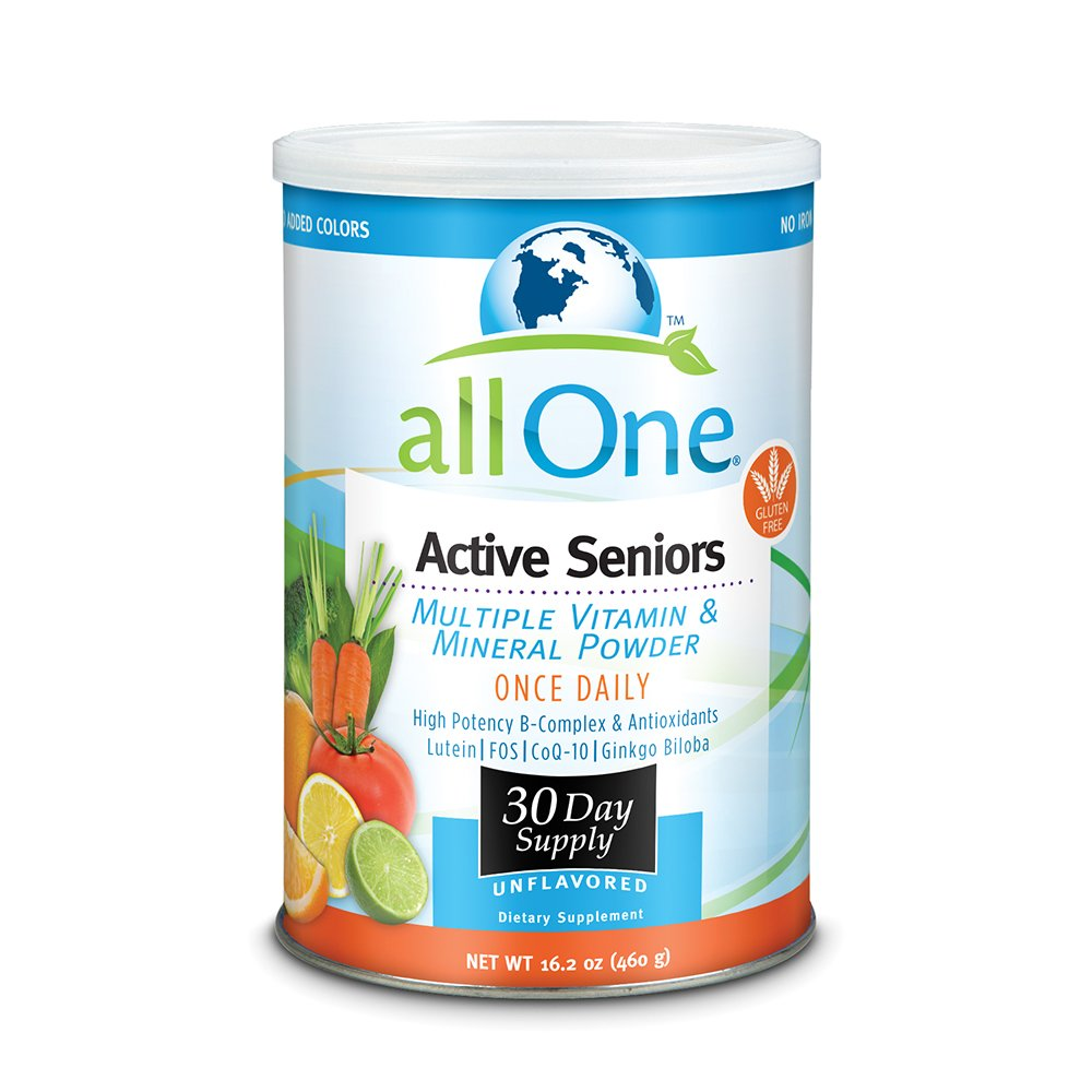 allOne Multiple Vitamin & Mineral Powder, For Active Seniors   Once Daily Multivitamin, Mineral & Amino Acid Supplement w/ 4g Protein   30 Servings