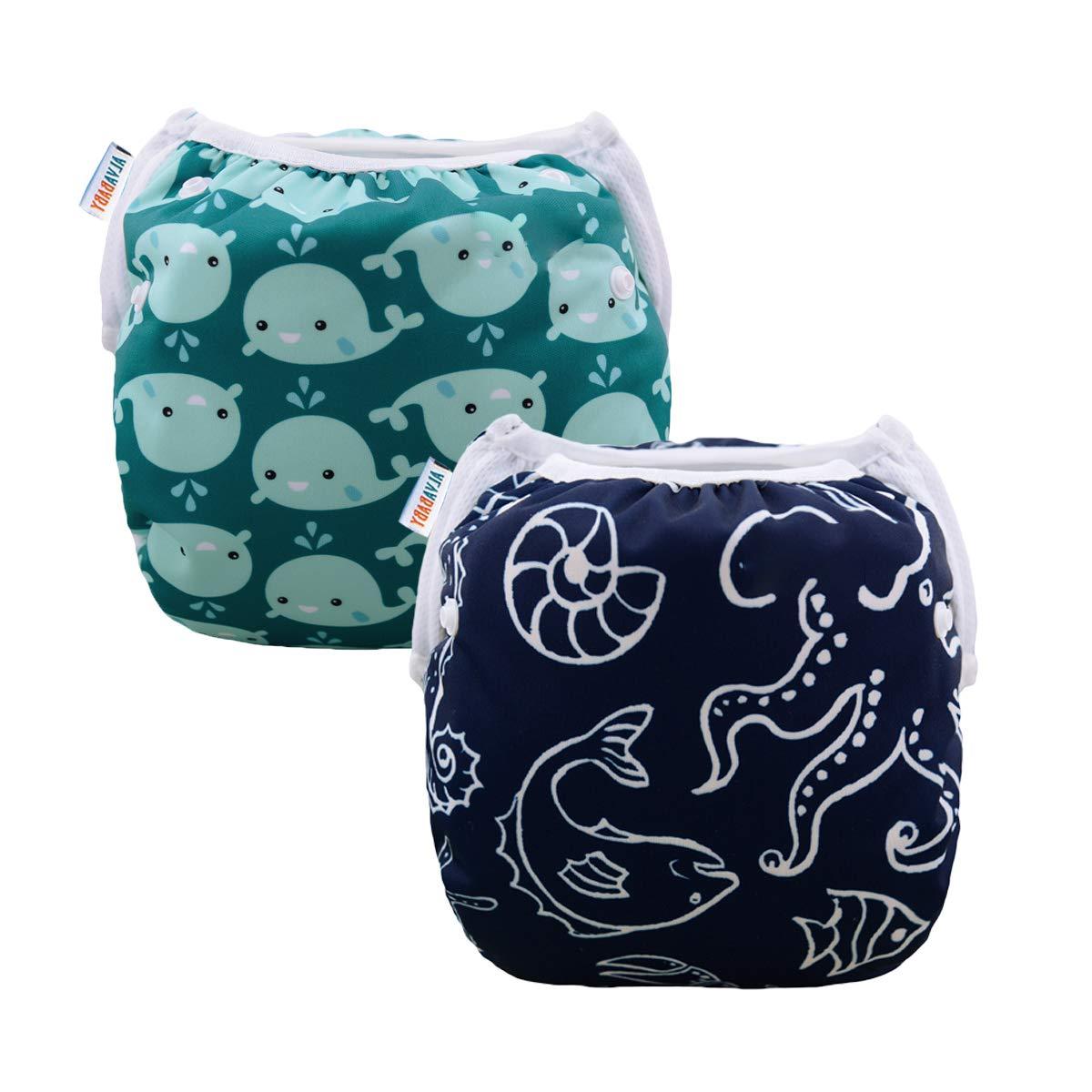 ALVABABY Swim Diapers Boys & Girls Reuseable Adjustable 2pcs 0-2 Years SW18-21