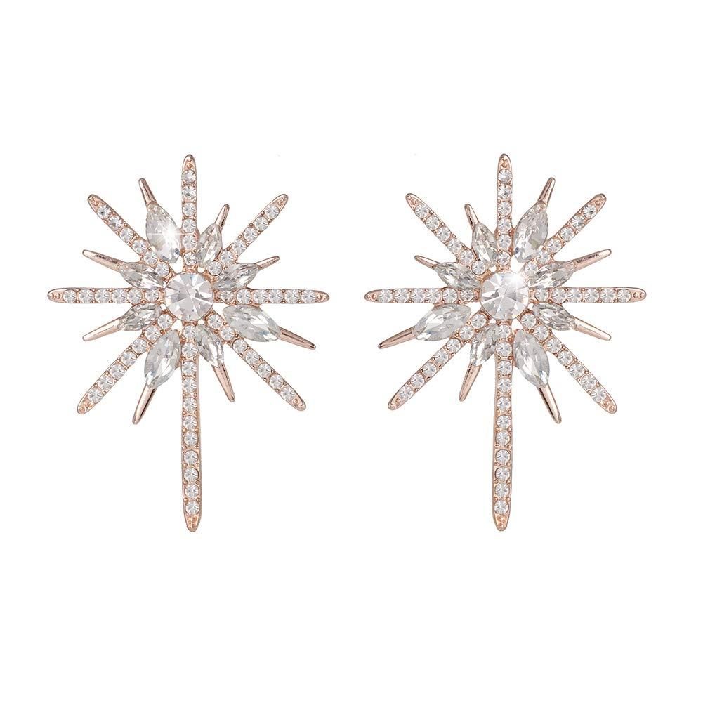 Rose Gold Flower Star Statemen Drop Stud Earrings for Women Lightweight Fashion BridalWedding Luxury Earring