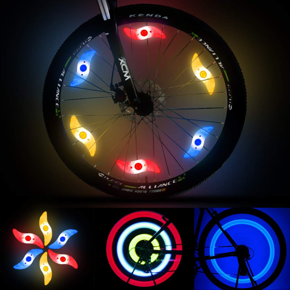 LEDGLE Colorful Bike Wheel Lights Spoke Light 6 Pack LED Waterproof Tire Lights for Bicycle Decoration, 3 Lighting Modes, Battery Powered, Batteries Included