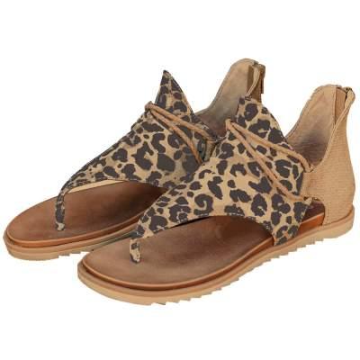 Women Vintage Posh Leopard Flip Flop Comfy Casual Beach Sandals Zipper Shoes