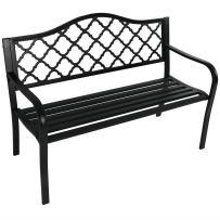 Sunnydaze Outdoor Patio Bench - 2-Person Outside Garden Park Bench Furniture - Durable Cast Iron Metal - Black Lattice Decorative Design - Outdoor Seating for Yard, Porch, Deck, Entryway or Backyard