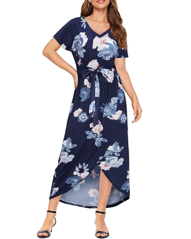 KILIG Women's V Neck Wrap Maxi Dress Floral Print Asymmetrical Slit Summer Dresses Casual Sundress with Belt