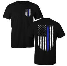 Fantastic Tees Thin Blue Line USA Flag Patriotic Police Support Men's T Shirt