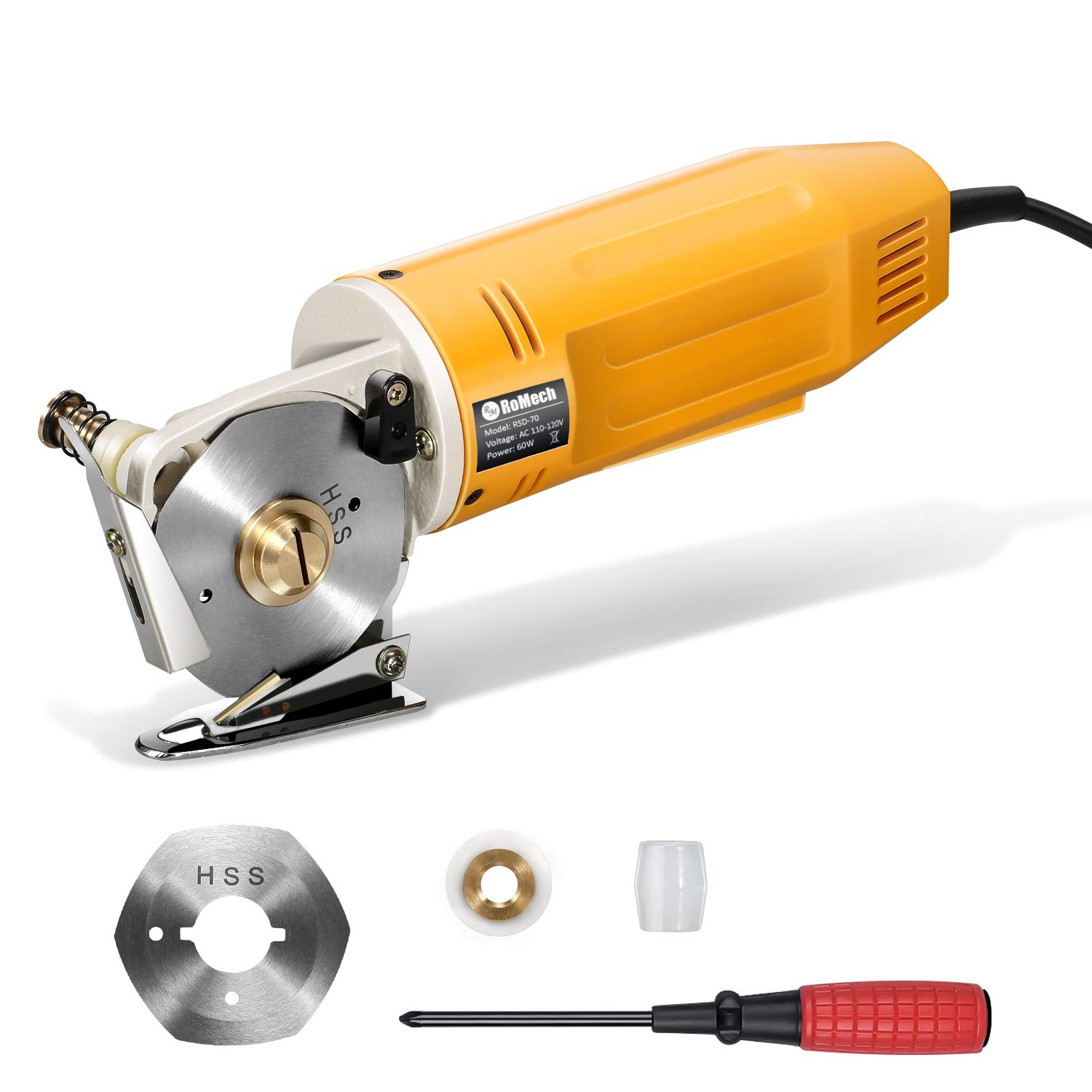 RoMech Mini Electric Cloth Cutter, Rotary Blade Fabric Cutting Machine, Octagonal Knife, Electric Rotary Scissors for Multi Layer Leather Wool