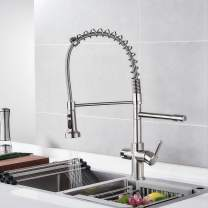 Modern Commercial Kitchen Sink Faucet Brushed Nickel-Kitchen Drinking Water Faucet High Arc Spring Heavy Body 3 in 1 Water Purifier Sink Faucet