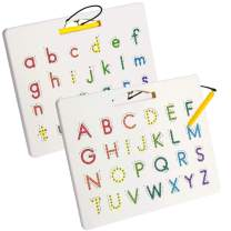Vanmor Magnetic Alphabet Tracing Board with Pen, ABC Double-sided Magnet Letter Board, A to Z Uppercase & Lowercase Magnet Alphabet Board Practice Reading Writing for 3 Year Old Kids Toddler Preschool