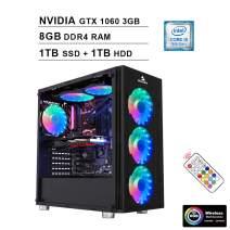 2020 NexiGo Quantum-Flux Liquid Cooled VR Ready RGB Gaming Desktop Computer (Intel 6-Core i5-9400F 2.9GHz, GTX 1060 3GB GDDR5, 8GB DDR4 RAM, 1TB SSD (Boot) + 1TB HDD, HDMI, WiFi, Windows 10)