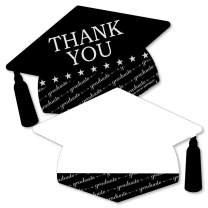 Big Dot of Happiness Graduation Cheers - Shaped Thank You Cards - Graduation Party Thank You Note Cards with Envelopes - Set of 12