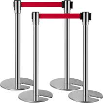 VEVOR U-Type Crowd Control Barriers Set of 4 Line Dividers Stainless Steel Stanchions with Retractable Belts Red Crowd Control Barrier with 6.6 Feet Retractable Belt Rope Stanchion 34.6 Inch Height