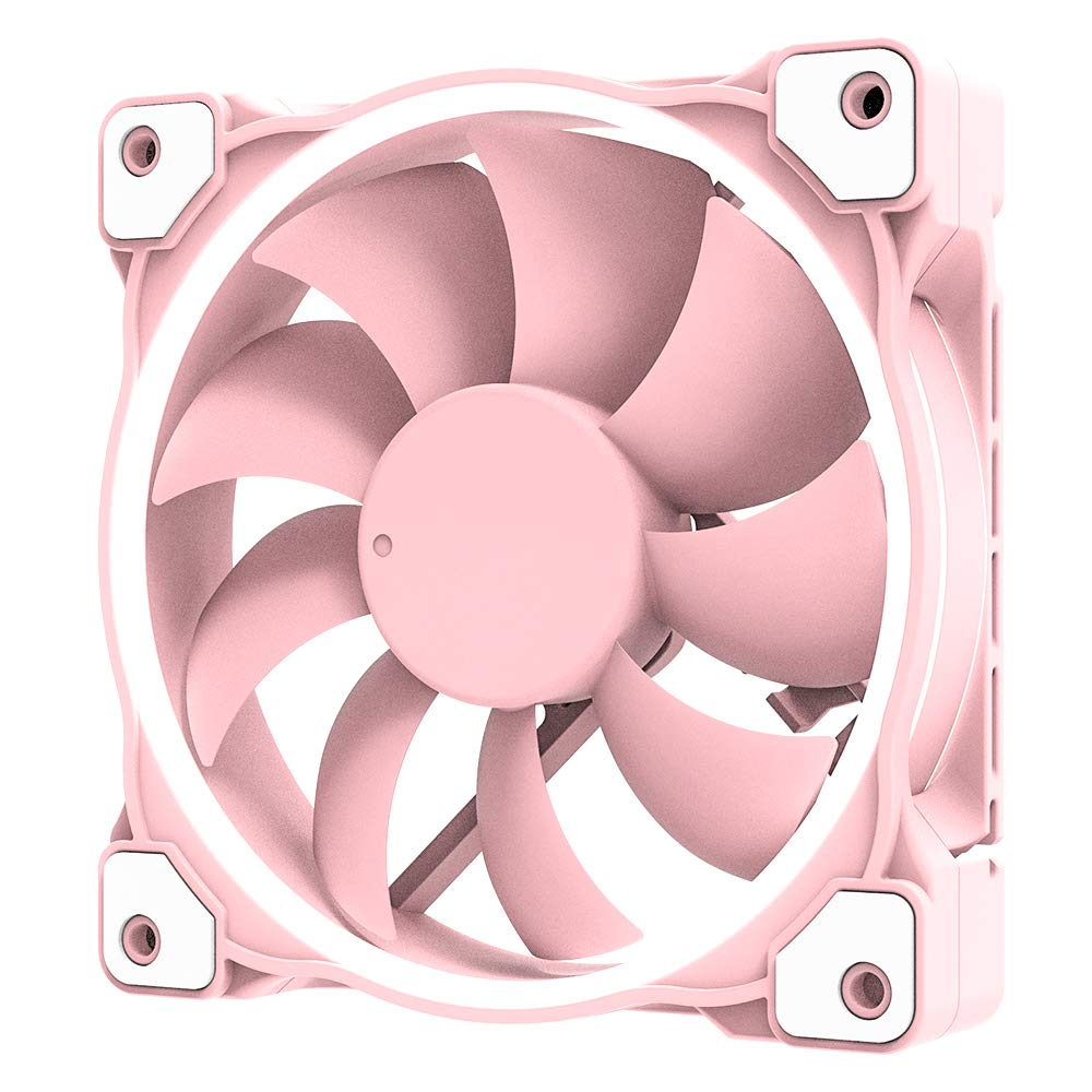 ID-COOLING ZF-12025 Pastel 120mm Case Fan White LED PWM Fan for PC Case/CPU Cooler (Piglet Pink)