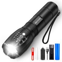 EBUYFIRE Rechargeable Tactical Flashlight set (Included Battery and Charger) High Lumens XML 5 Modes,Zoomable Torch LED Light, Water Resistant Super Bright for Camping, Hiking, Emergency Flashlights