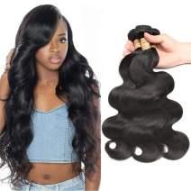"Body Wave Human Hair 3 Bundles (16"" 18"" 20"", Natural Color) 100% Real Human Hair Body Wave Hair Bundles Malaysian Virgin Human Hair Weave for Black Woman"