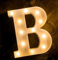 Foaky LED Letter Lights Sign Light Up Letters Sign for Night Light Wedding/Birthday Party Battery Powered Christmas Lamp Home Bar Decoration (B)