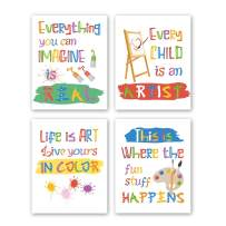 CHDITB Unframed Colorful Arrt Print Inspirational Quotes&Saying Painting Watercolor Words Wall Art,Set of 4(8''x10'') Canvas Ink Splatter Palette Picture for Study Kids Room Classroom Decor