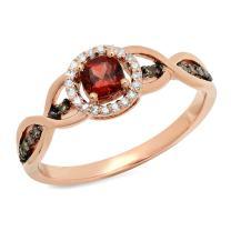 Dazzlingrock Collection 14K Gold Cushion Garnet & Round Champagne & White Diamond Ladies Halo Style Bridal Engagement Ring