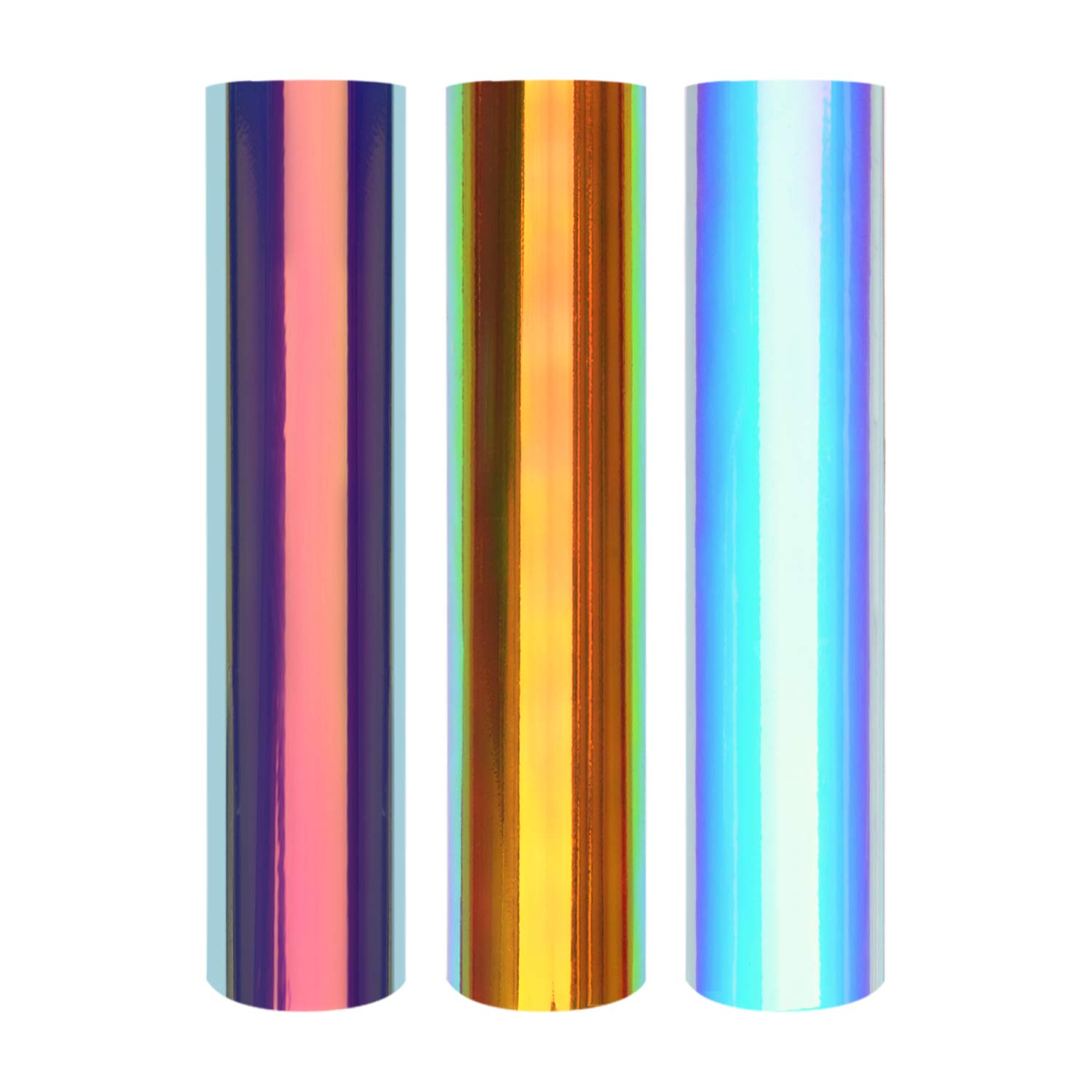 """Holographic Heat Transfer Vinyl HTV 3 Pack 12""""x10"""" Iron On Vinyl for Cameo, 3 Assorted Colors HTV Holographic Bundle"""