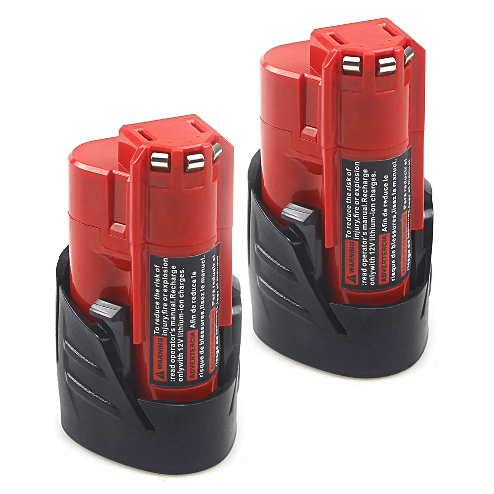 2 Pack Waitley M12 12V 2.5Ah Replacement Battery Compatible with Milwaukee M12 48-11-2401 Li-Ion Battery 48-11-2420 48-11-2411 48-11-2440 48-11-2402 Tools