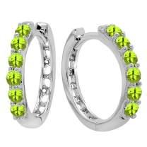 Dazzlingrock Collection 14K Round Gemstone Ladies Huggies Hoop Earrings