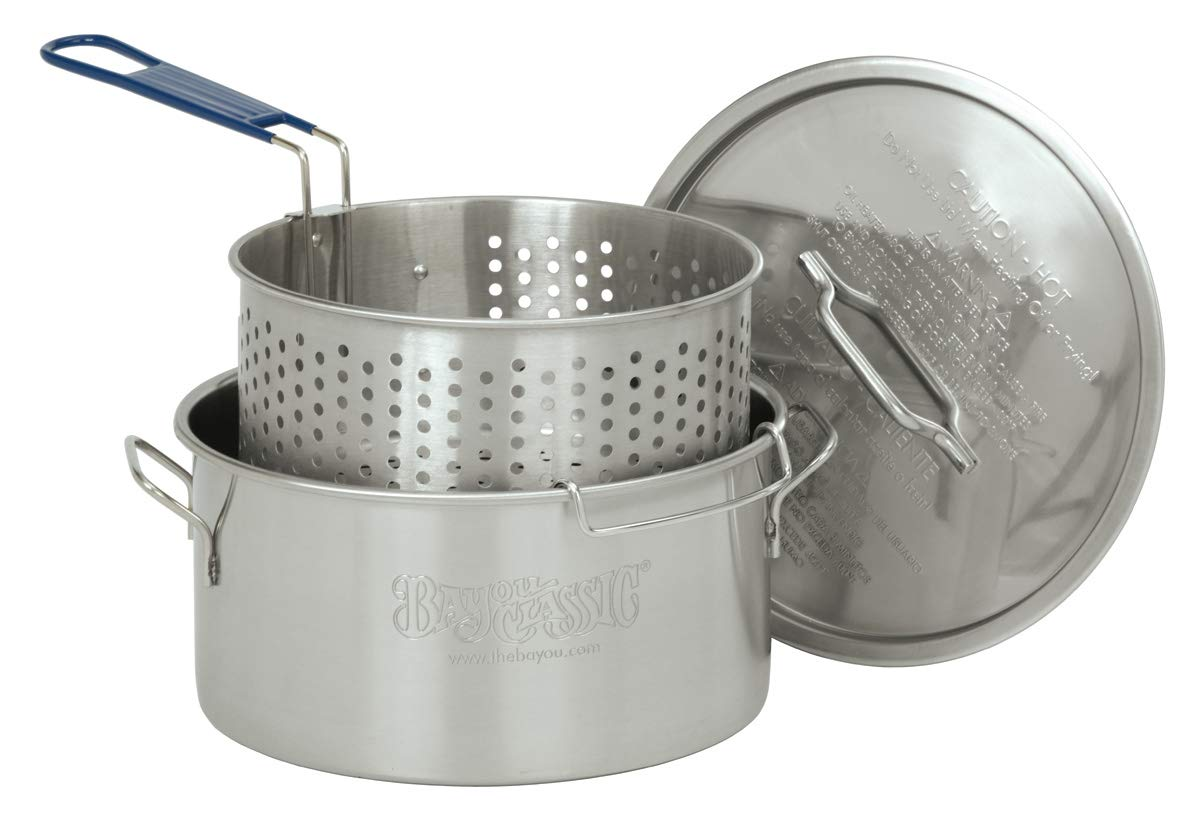 Bayou Classic 1150, 14-Qt. Stainless Deep Fryer, Perforated Basket with Cool Touch Handle,Silver