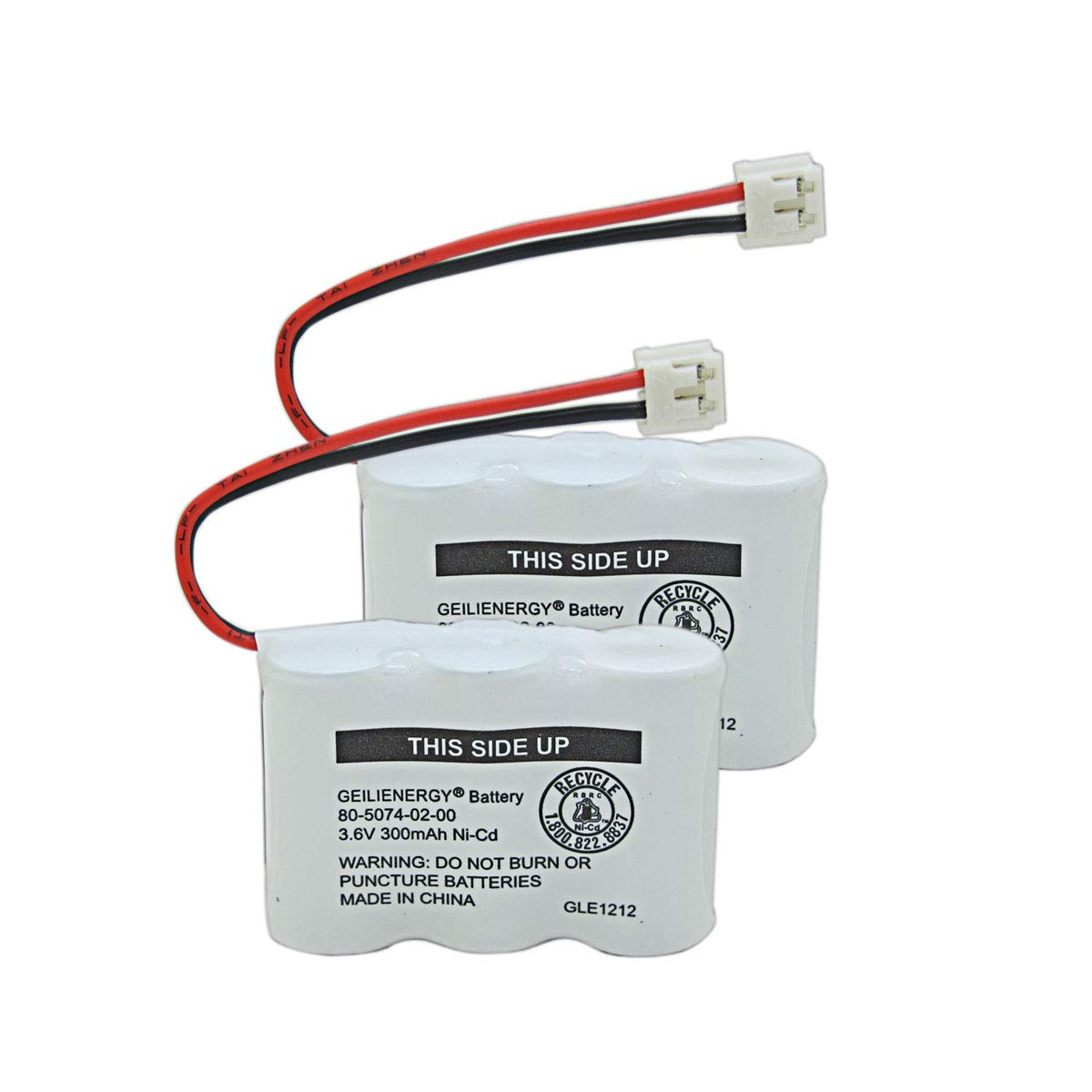 GEILIENERGY 2/3AA 3.6V NI-CD Cordless Phone Battery Compatible with at&T 2422 80-5074-00-00 1165 4200 E1802(2 Pack)