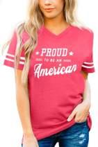 Spadehill Women's July 4th American Flag V-Neck Short Sleeve T Shirt
