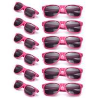 Bulk 12 Pack Neon Retro Sunglasses Unisex Adult Kids Party Favors Decor Glasses
