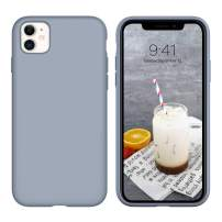 """iPhone 11 Case Silicone,DUEDUE Liquid Silicone Soft Gel Rubber Slim Cover with Microfiber Cloth Lining Cushion Shockproof Full Body Protective Case for iPhone 11 6.1"""" 2019,Lavender Grey"""