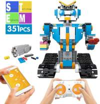 Mould King Remote Control Building Block Robot Set for Kids Intelligent Building Kit 6-13 Years Old Boys Girls Gift (351 Pieces Blue)
