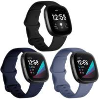 Witzon 3 Pack Bands Compatible with Fitbit Sense/Fitbit Versa 3, Waterproof Soft Silicone Sport Straps Replacement Wristbands for Women Men, Large - Black/Blue Grey/Navy
