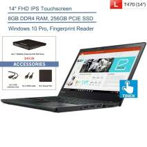 "2020 Lenovo ThinkPad T470 14"" FHD Touchscreen Business Laptop Computer, Intel Core i5-6300U Up to 3.0GHz, 8GB DDR4, 256GB PCIE SSD, AC WiFi, Windows 10 Pro + YZAKKA External DVD+Accessories"