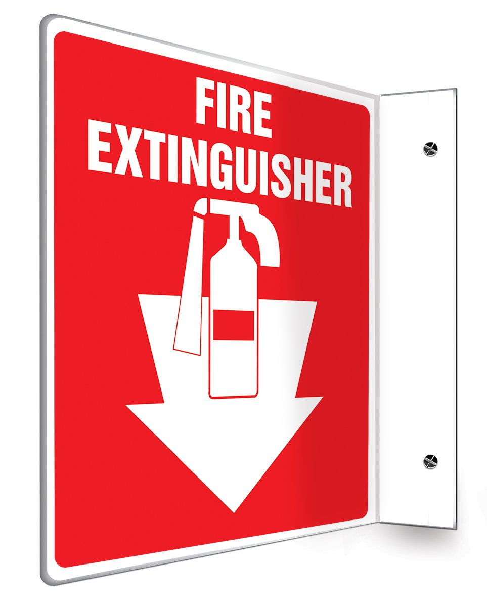 "Accuform PSP707 Projection Sign 90D, Legend""FIRE Extinguisher (Arrow)"", 8"" x 8"" Panel, 0.10"" Thick High-Impact Plastic, Pre-Drilled Mounting Holes, White on Red"