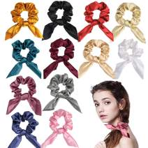12 Pack Bow Scrunchies for Hair Silk Satin Scrunchies Cute Bow Bair Ties for Women,12 Colors Bowknot Scrunchies for Girls