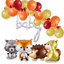 GIHOO Woodland Creatures Animals Balloons Kits,4pcs Giant Animal Balloons,Garland Balloons of Assorted Gold Orange Blue Latex Balloons with Baby Foil Balloon for Baby Shower Birthday Party Supplies