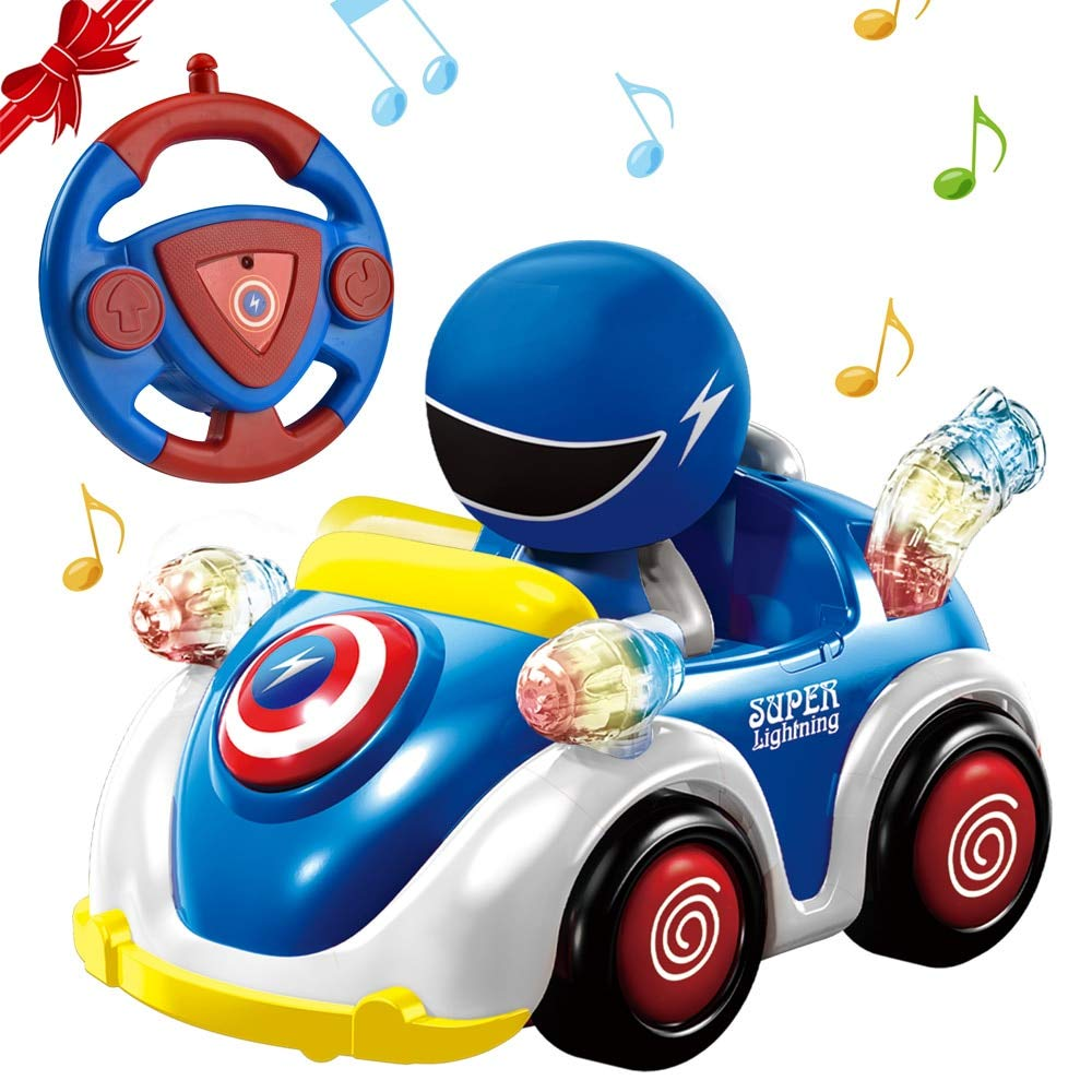 NQD Remote Control Car for Toddlers RC Cartoon Race Car with Music and Lights 2.4GHz Radio Control RC Toy Car for Kids