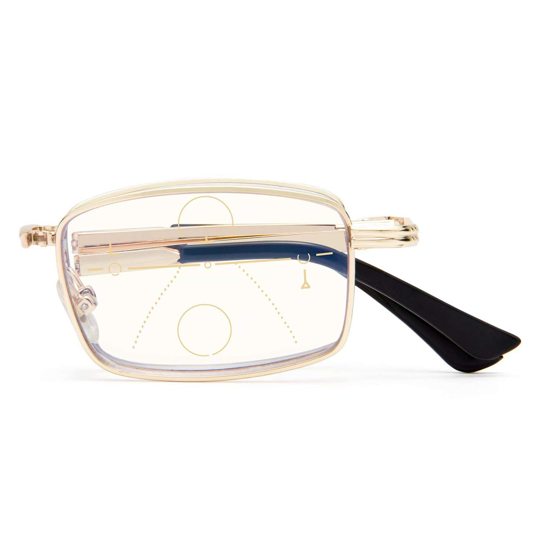 LianSan Portable Folding Progressive Multifocus Computer Reading Glasses Blue Light Blocking Readers for Men and Women