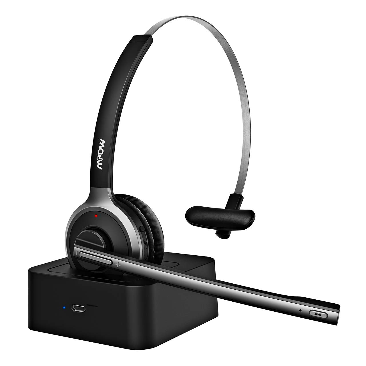 Mpow M5 Pro Bluetooth Headset, Advanced Noise Cancelling Microphone, Strong BT Signal, Comfort-fit Truck Driver Headset with Charging Base, Hands-Free Wireless Headphones for Skype/Call Center/Office