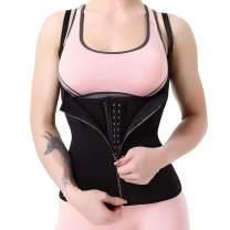 ASHLONE Waist Trainer Waist Cincher for Women Body Shaper Vest with Adjustable Straps, 3 Row Hook & Zipper