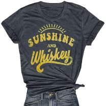 Sunshine and Whiskey Shirts Women T Shirt Funny Beach Cute Graphic Tee Shirt Casual Sunshine Shirt Tops