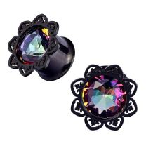 Qmcandy 2pcs 0g-5/8 in Stainless Steel Lotus Edge Crystal Ear Gauges Piercing