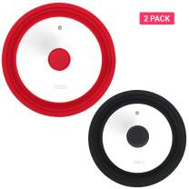 [2 Pack] Multi Sized Lids Universal Silicone Glass Lid for Pots Pans Tempered Glass Food Safe Silicone Rim Cool Touch Handle Steam Vent Dishwasher Safe (8/8.5/9.5/10/11 Black+Red)