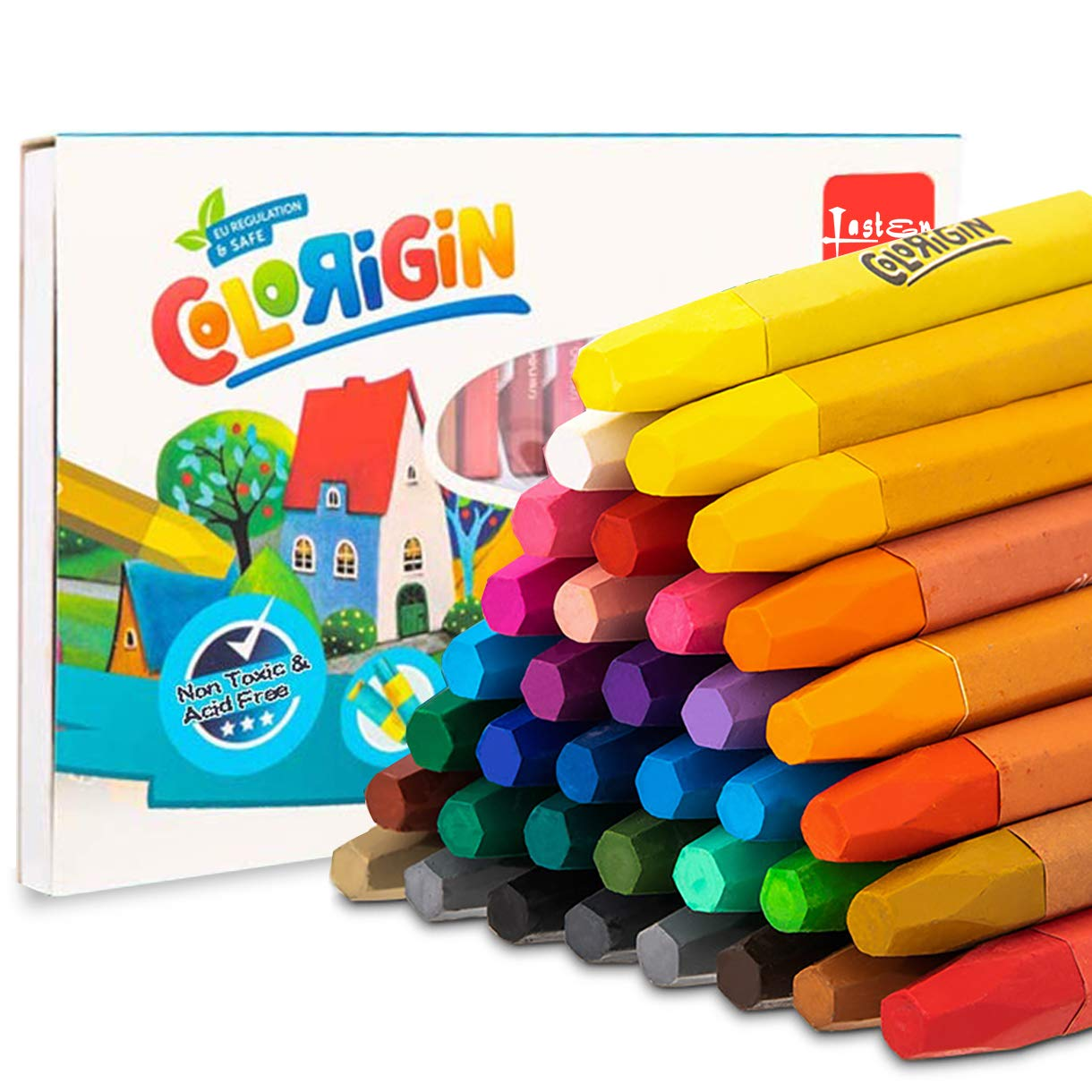 36 Colors Oil Pastels Sticks with Pastel Holders and Sharpeners for Kids & Adults, All Artist by lasten